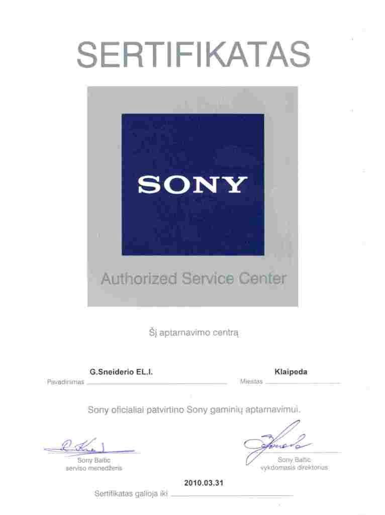 Sony autorizacija